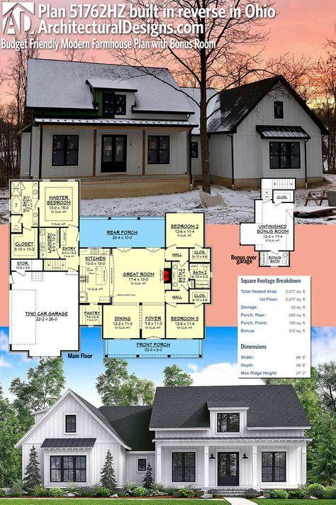 Architectural Designs Modern Farmhouse Plan 51762HZ Client Built In Reverse  Orientation In Ohio. The