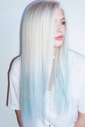 Platinum With Pastel Blue Tips Ombre Blonde Hair Shades Platinum Blonde Hair Blue Ombre Hair