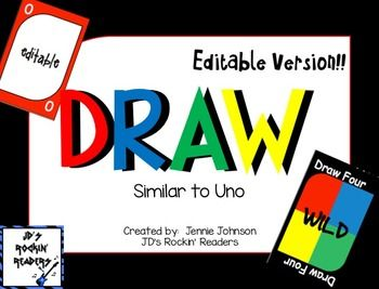 Draw A Sight Word Game Similar To Uno Editable Version Draw Is A Sight Word Game That Is Played Like The Game Of Un Sight Word Games Sight Words Word Games