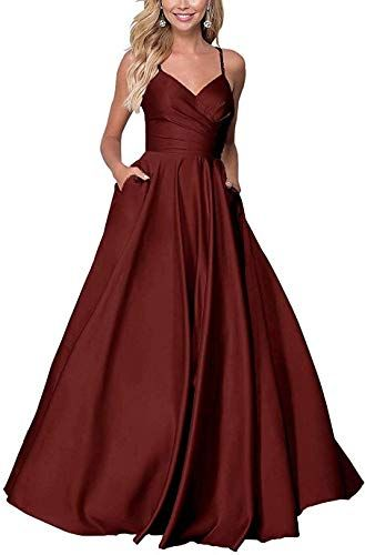 Best Seller Kaoshan Long Prom Dress Satin V Neck Straps A Line Evening Gown With Pockets Online Findandbuy In 2020 Prom Dresses With Pockets Formal Dresses Prom Satin Prom Dress