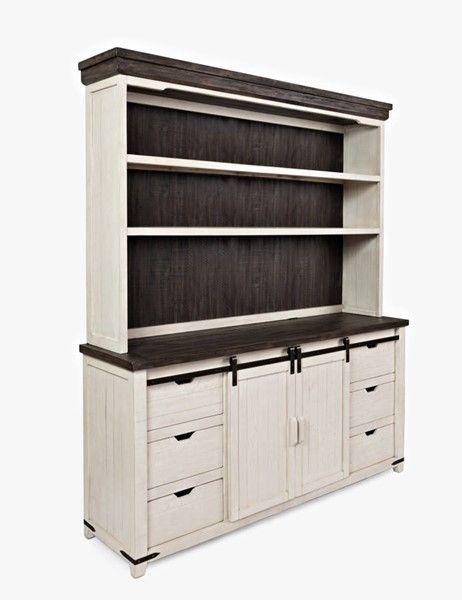 Jofran Furniture Madison County Vintage White Hutch Server ...