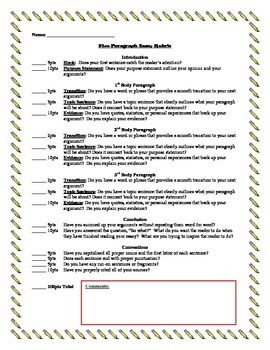Five Paragraph Essay Rubric 5 Graphic Organizer Elementary Format Pdf Topic