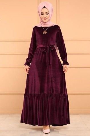 Moda Selvim Firfirli Kadife Elbise Edf4010 Murdum Thumbnail Kleider