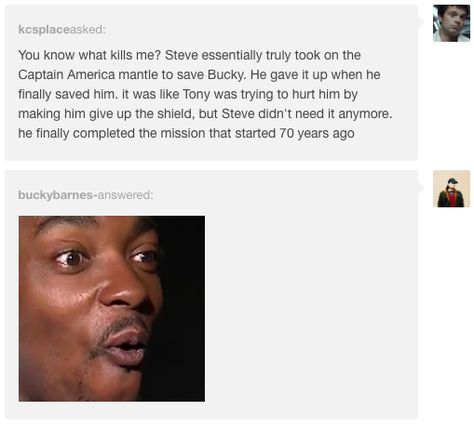 "When this user presented some beautiful narrative symmetry. | 17 Tumblr Reactions To ""Captain America: Civil War"" That Will Make You LOL <--i'm not laughing i'm crying at this one"