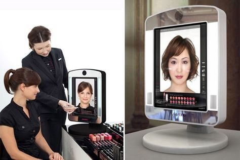 From Val: Japanese beauty retailer Shiseido is using technology to enhance the cosmetics department of its Tokyo store. Small connected displays or 'cosmetic mirrors' are placed throughout the first floor of the retail store where customers can scan beauty product barcodes. When scanned, the displays virtually apply a selected product to the customer's face as it appears on the screen.   http://www.psfk.com/2011/08/digital-mirrors-for-sampling-makeup.html