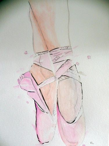 Aquarelle Chaussons De Danse Dessin Danceuse Danseur Aquarelle Dessin Romantique