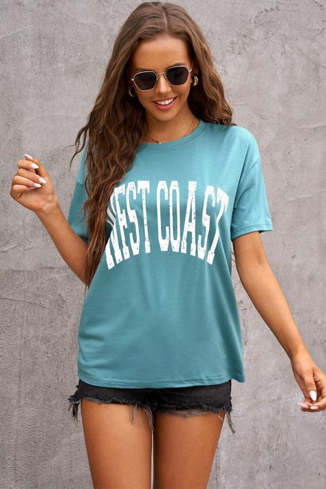 WEST COAST Letters Graphic Oversize Tee - Green / S