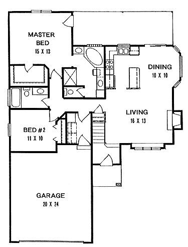 Traditional Style House Plan 2 Beds 2 Baths 1160 Sq Ft Plan 58 108 Traditional House Plans Small House Plans Cottage House Plans