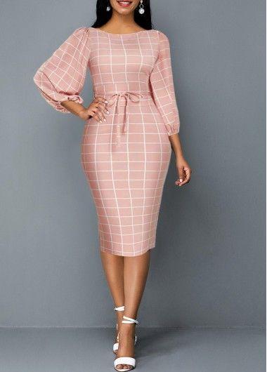 Cocktail Party Dress Lantern Sleeve Plaid Print Tie Front Sheath Dress