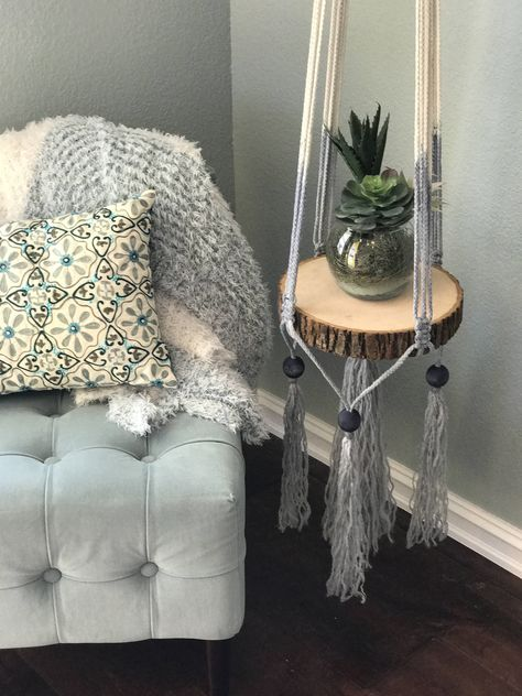 Hanging macrame accent table,macrame plant hanger,floating table,boho decor,bohemian accent table,minimalist table,floating shelf,macrame by HolyChicBoutiqueCo on Etsy
