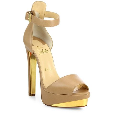 Christian Louboutin Tuctopen Leather Ankle Strap Platform