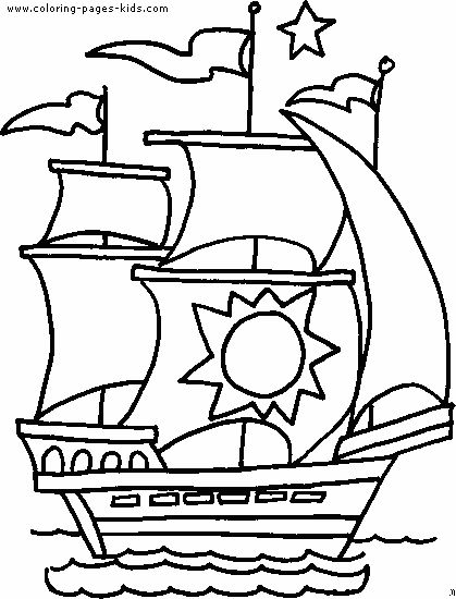Boat Color Page Transportation Coloring Pages Color Plate