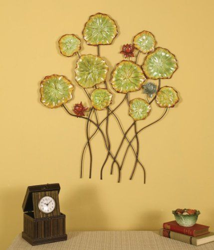 Pressed Metal Flowers Wall Decor (Green) (30\