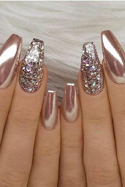Glittering Champagne Nails Chromenails Manicura De Uñas