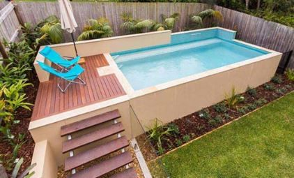 Above Ground Pool In 2020 Small Pool Design Pools For Small Yards Small Backyard Pools