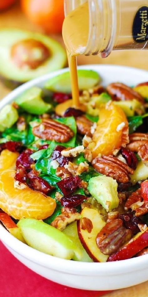 Christmas Salad: Apple Cranberry Spinach Salad with Pecans, Avocados (and Balsamic Vinaigrette Dressing) - delicious, healthy, vegetarian, gluten free recipe! #holidaysalad #Christmassalad #Christmasrecipes #Christmasdinner #holidayrecipes #holidaydinner #sponsored #apples #cranberries #spinachsalad #pecans #avocado #balsamic Cranberry Spinach Salad, Spinach Salad Recipes, Vegetarian Recipes, Cooking Recipes, Healthy Recipes, Cooking Ideas, Vegetarian Salad, Salad Bar, Soup And Salad