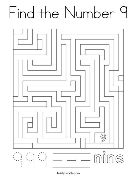 Find The Number 9 Coloring Page Twisty Noodle In 2021 Coloring Pages School Art Activities Mini Books