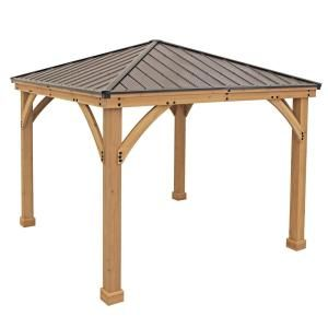 Yardistry 10 Ft X 10 Ft Meridian Gazebo Ym11756 In 2020 Gazebo Patio Gazebo Aluminum Roof