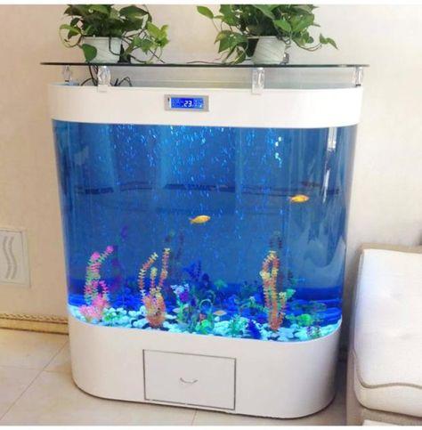 Ecological Aquarium Tank Super White Glass Double Circle Creative Aquarium Fish Tank Turtle Cylinder Water Free Manufacture Goldfish Tank Fish Tank Turtle Tank