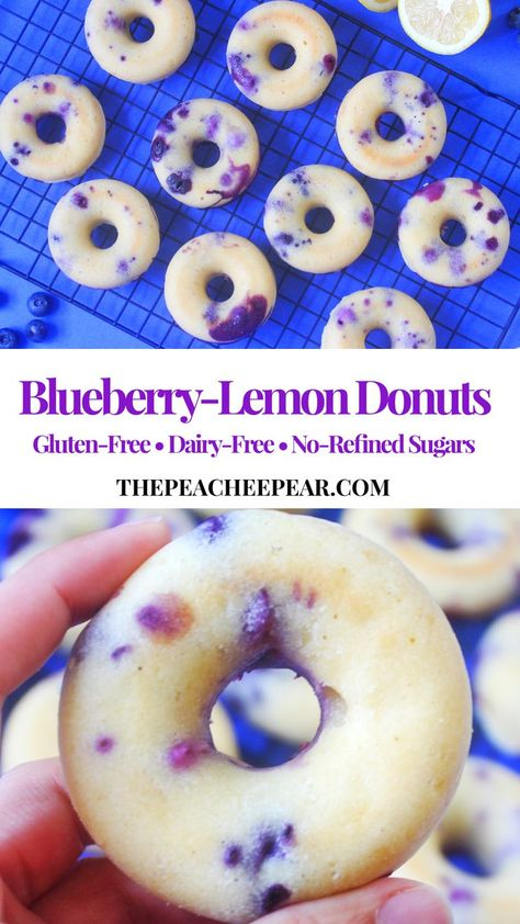 These Blueberry-Lemon Donuts are the perfect treat to indulge in. They are delicious, fluffy, warm and every bite is a burst of flavor. Plus they're clean! Great to have as a snack or even perfectly h Sugar Free Snacks, Dairy Free Snacks, Dairy Free Breakfasts, Dairy Free Diet, Sugar Free Desserts, Sugar Free Recipes, Healthy Gluten Free Snacks, Gluten Free Lunch Ideas, Dairy Free Recipes For Kids