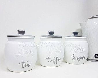 Grey Silver White Copper Tea Coffee Sugar Canister Tea Caddy Etsy In 2020 Tea Coffee Sugar Canisters Tea Coffee Sugar Jars Kitchen Canister Sets