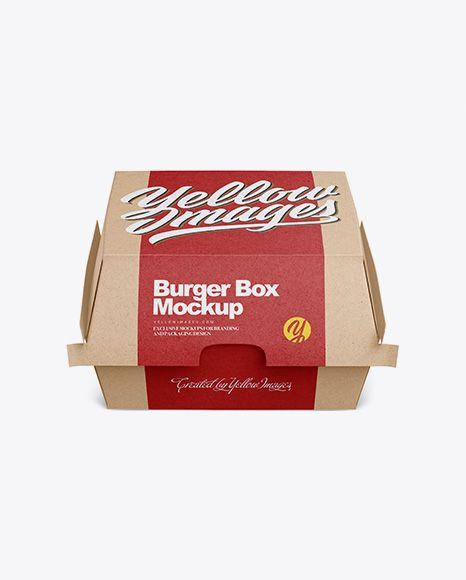 Free Mockups Kraft Burger Box Mockup Front View High Angle Shot