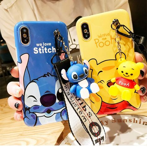 Super cute Stitch mini Pooh dinosaur lanyard+tand silicone case for ip – Sunshine's Boutique & Gifts