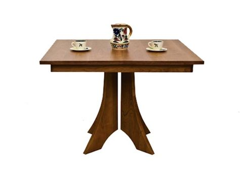 Square Dining Table With Pedestal Base Available In 4 Sizes And Four Wood Types Natural Cherry Maple Oak Or Walnut Perfect Sizing Styling For A