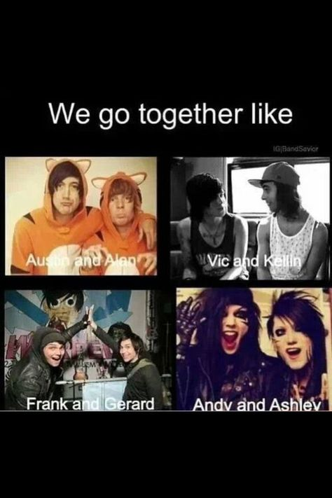 Austin Carlile& Alan Ashby(Of Mice and Men), Kellin Quinn(Sleeping With Sirens) and Vic Fuentes(Pierce The Veil), Gerard Way and Frank Iero(My Chemical Romance), and Andy Biersack and Ashley Purdy(Black Veil Brides) Emo Band Memes, Emo Bands, Music Bands, Rock Bands, We Go Together, Band Quotes, Sleeping With Sirens, Of Mice And Men, Black Veil Brides