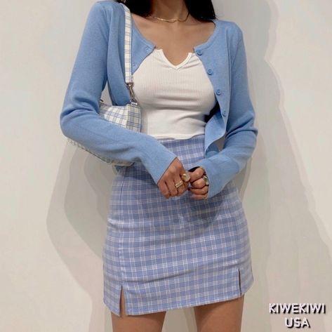 Cara Plaid Blue High-Rise Mini Skirt - S