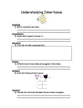 Understanding Inheritance Worksheet Pedigree Chart Understanding Genetic Disorders