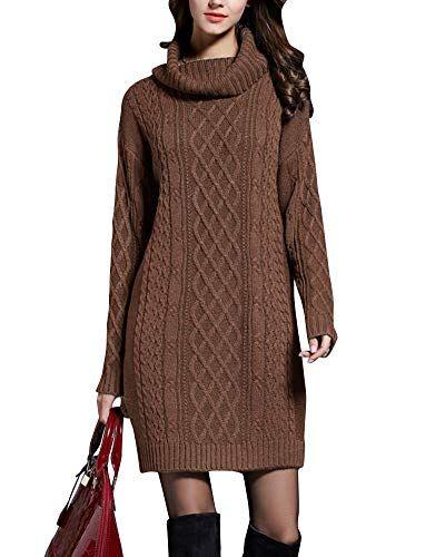 Rollkragen Pulloverkleid Penggenga Damen Langarm Strickkleid Elegant 80nOwPk