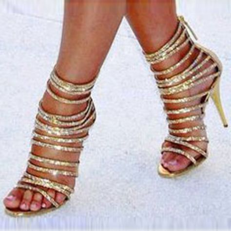 Chic Golden Zipper Stiletto High Heels Sandals