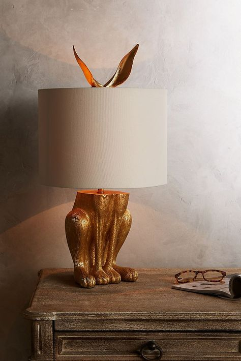 Gilded Hare Lamp Ensemble, Home Accessories, Slide View: Gilded Hare Lamp Ensemble. Deco Luminaire, Unique Lamps, Unique Lighting, Lighting Ideas, Decorative Lighting, Deco Design, Design Art, Design Ideas, Interior Design