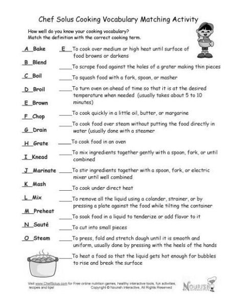Basic Cooking Terms Worksheets Cooking Basics Nutrition Classes