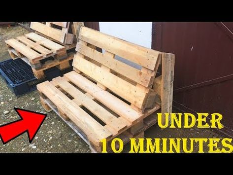 Hot to make PALLET BENCH under 10 Minutes 2019 - Without Finishing and painted - pallet projects Outdoor Pallet Projects, Pallet Crafts, Outdoor Pallet Seating, Diy Projects Using Pallets, Pvc Projects, Diy Crafts, Outdoor Decor, Pallet Garden Furniture, Furniture Projects