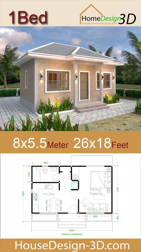 Small House Plans 8x5.5 with One Bedrooms Gross Hipped roof The House has:  -Car Parking and garden -Living room, -Dining room -Kitchen -1 Bedrooms, 1 bathroom -washing room