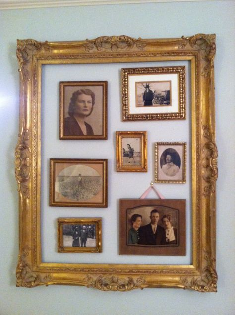 frame old photos and hang inside heavy frame