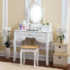 Cormier Corner Makeup Vanity With Mirror Vanity Table Set Vanity Set With Mirror Wooden Vanity