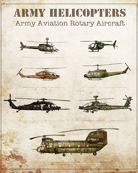 Aviation art printIncluded in this print are the helicopters Black Hawk Chinook HueyIroquois Apache Kiowa Lakota and Cobra