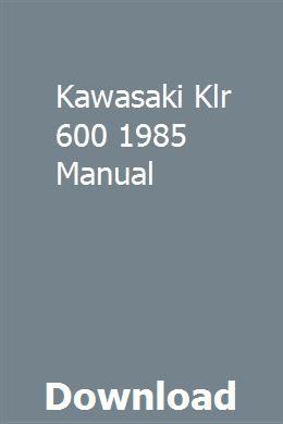 Kawasaki Klr 600 1985 Manual Repair Manuals Owners Manuals Toyota Wish