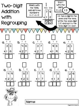 TWO-DIGIT ADDITION WORKSHEETS {WITH AND WITHOUT REGROUPING ...