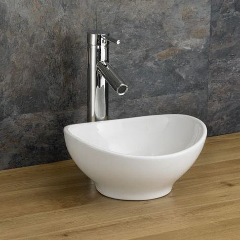 Countertop Oval Basin Small Narrow Freestanding Cloakroom Sink
