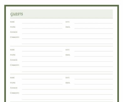 Visitor Log Template  Template    Logs