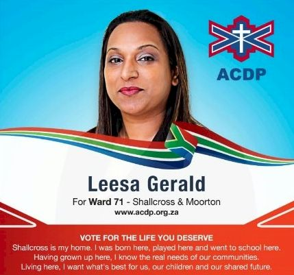 Why do you want to be councillor for Ward 71? What makes you an ideal candidate?  Leesa Gerald: My strongest point is that I am not a newcomer or a newbie wanting  fame.I have achieved that in Durban  around Durban and certain parts of the world.I am born and bred in this area and despite my fame I have not abandoned my identity grassroots and my community. I have served this community since  I was a child and my hair tied in pig tails.I know first hand of the pain and misery of the homeless hungry and needy. I was there from youth serving them and being with them.I am no stranger to them.We have from those days rolled our sleeves and we have worked  together.I believe that I am not the ideal candidate but that I am a real candidate as I have  faced the harsh reality and witnessed with great pain to see my hometown go from a peaceful place  to a place of crime and violence .  #SouthAfrica #RSA #Durban #Ward71 #Vote #crimestats
