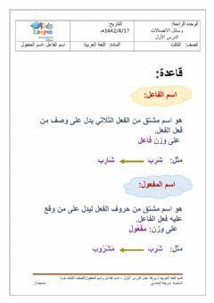 ورقة عمل اسم الفاعل واسم المفعول Language Arabic Grade Level الصف الثالث School Subject لغة عربية Main Content Worksheets Online Workouts Online Activities