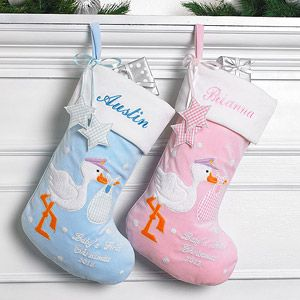 Personalized Baby's First Christmas Stork Stocking   Christmas ...
