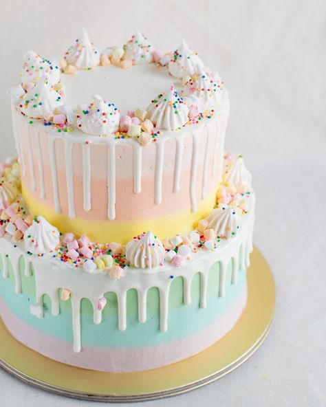 Two-Tier Pastel Rainbow Drizzle Cake - Custom Bakes by Edith Patisserie