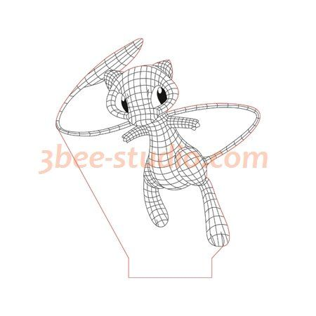 Mew Pokemon 3d Illusion Lamp Plan Vector File Op For Laser And Cnc 3bee Studio 3d Illusions 3d Illusion Lamp Illusions
