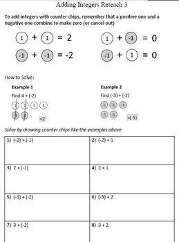 Adding Integers Reteach Worksheets 3 Adding Integers Integers